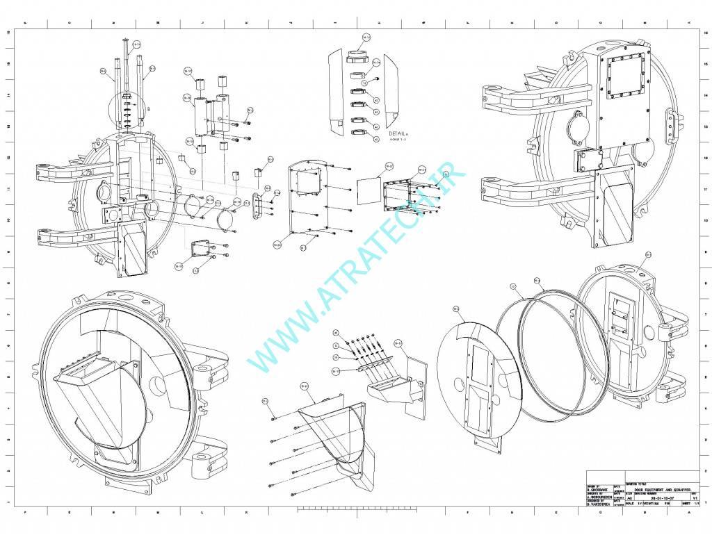 نقشه مونتاژی درب دستگاه تولید ملامین