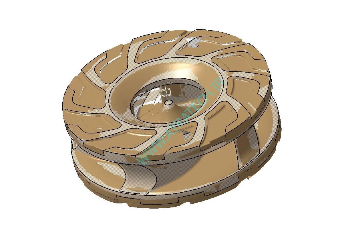 مهندسی معکوس و تهیه فایل سه بعدی پروانه پمپ اسلاری