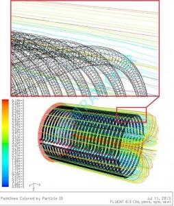 خطوط جریان اطراف لولهها محفظه احتراق موتور استرلینگ توسط نرم افزار فلوئنت